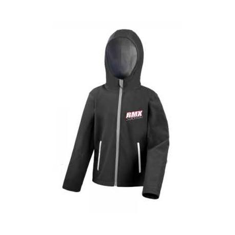 BMX Veste Softshell Capuche Enfant Noie