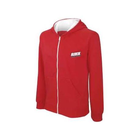 BMX Sweat-shirt zippé capuche enfant Rouge