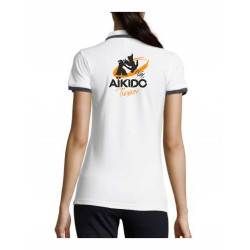AIKIDO TISSIER VAR - Polos FEMME Blanc - Broderie Coeur et Dos