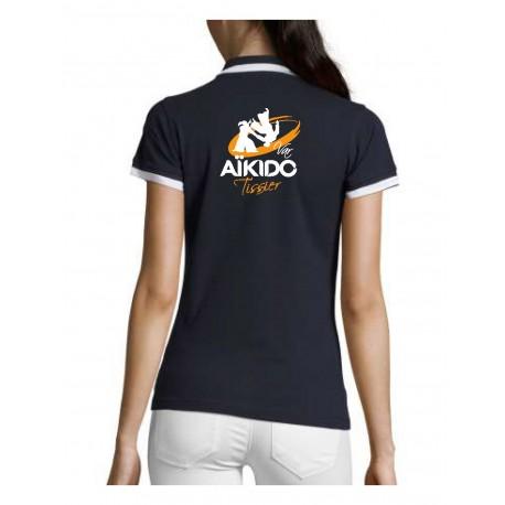 AIKIDO TISSIER VAR - Polos FEMME Marine - Broderie Coeur et Dos