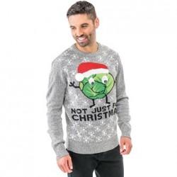 PULL MOTIF CHOU DE BRUXELLES NOT JUST FOR CHRISTMAS