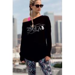 2 SI 2 LA - Tee-Shirt Femme Slounge Logo Arabesque Gris Blanc