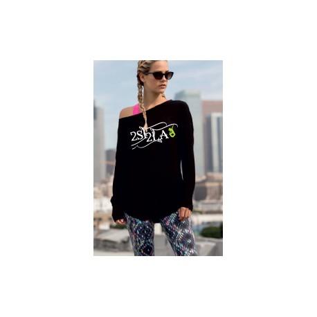 2 SI 2 LA - Tee-Shirt Femme Slounge Logo Arabesque Gris Vert