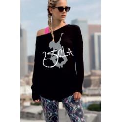 2 SI 2 LA - Tee-Shirt Femme Slounge Logo Classique Gris et Blanc