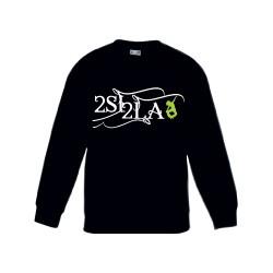 2 SI 2 LA - Sweat Col Rond Enfant Noir Logo Arabesque Blanc Vert