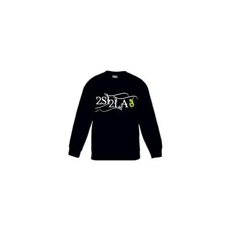 2 SI 2 LA - Sweat Col Rond Enfant Noir Logo Classique Blanc Vert
