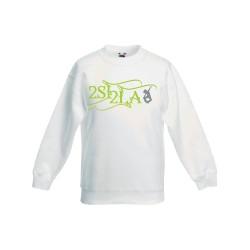 2 SI 2 LA - Sweat Col Rond Enfant Blanc Logo Arabesque Vert Gris