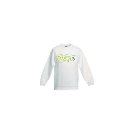 2 SI 2 LA - Sweat Col Rond Enfant Blanc Logo Classique Vert Gris