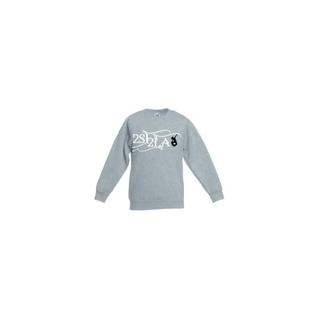2 SI 2 LA - Sweat Col Rond Enfant Gris Logo Classique Blanc Noir