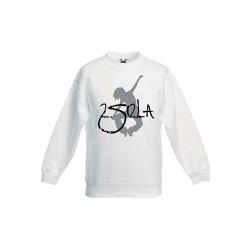 2 SI 2 LA - Sweat Col Rond Enfant Blanc Logo Classique Gris Noir