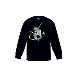 2 SI 2 LA - Sweat Col Rond Enfant Noir Logo Classique Blanc Gris