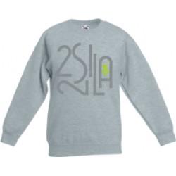 2 SI 2 LA - Sweat Col Rond Enfant Gris Logo Billionaire Gris Vert