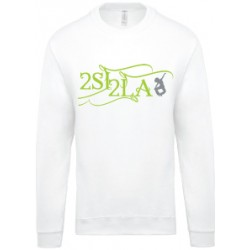 2 SI 2 LA - Sweat Col Rond Adulte Blanc Logo Arabesque Vert et Gris