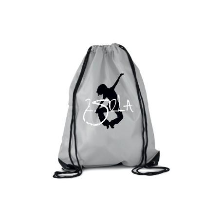 2 SI 2 LA - Sac Cordelette Gris Logo Classique Blanc et Noir