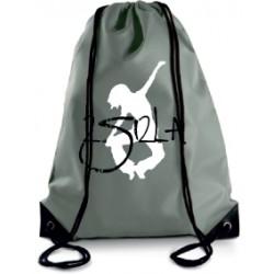 2 SI 2 LA - Sac Cordelette Gris foncé Logo Classique Blanc et Noir
